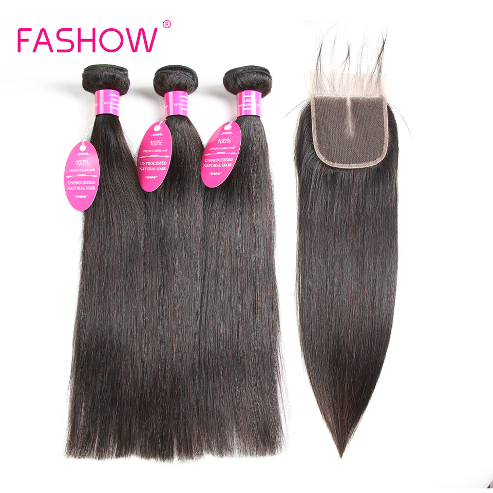 100% Indian Hair With Closure 3 Bundles With Lace Closure Non Remy Hair Bundles Straight Human Hair Bundles With Closure