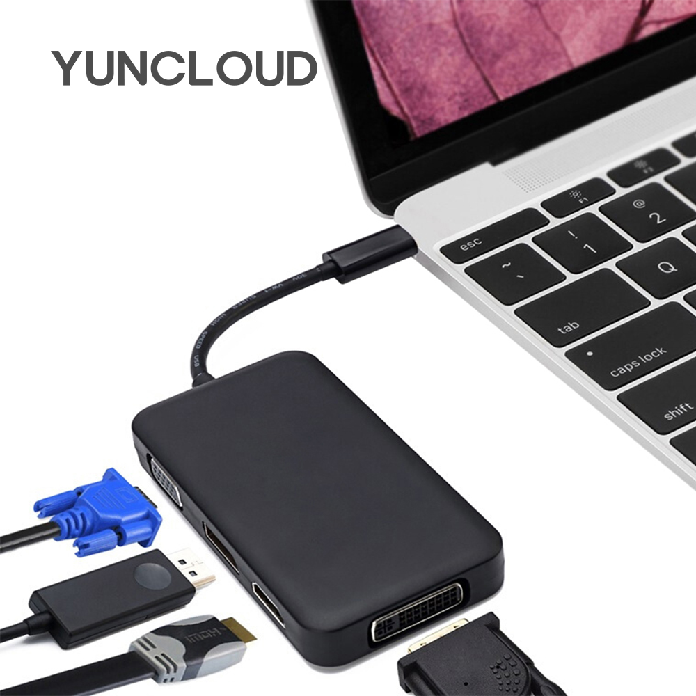 цена на YUNCLOUD USB Splitter USB C 3.1 to HDMI DVI DisplayPort DP VGA for Macbook Huawei P20 Pro Samsung S9/S8+ Laptop Docking station
