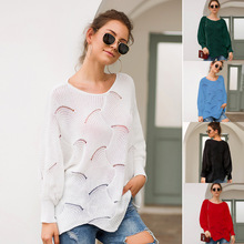 Autumn Women Elegant Loose Irregular Long Sleeve Sweaters Knit Pullover Shirt Casual Thin Sweater Hollow Pullover wanita Sweater