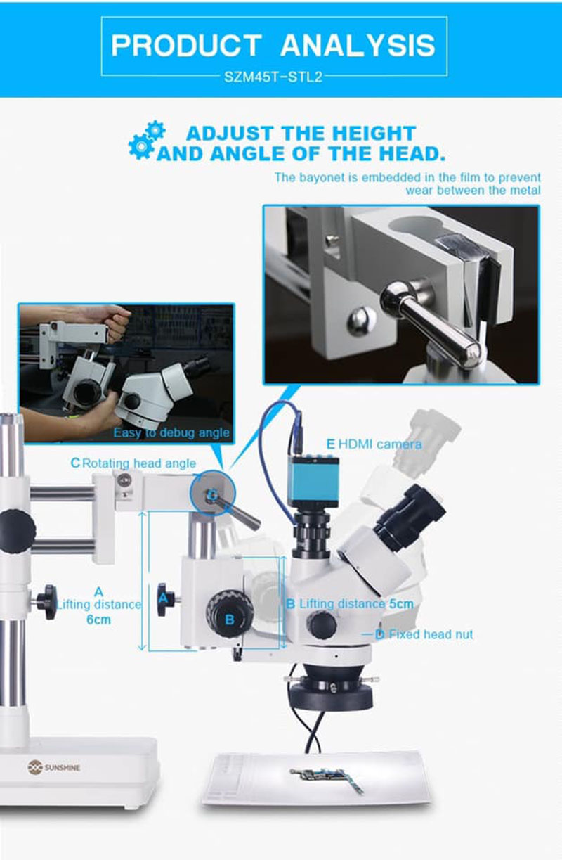 Jyrkior Sunshine SZM45T-STL2 Universal Bracket 7X~45X Continuous Zoom Trinocular Stereo Microscope For Mobile Phone Repair Tool