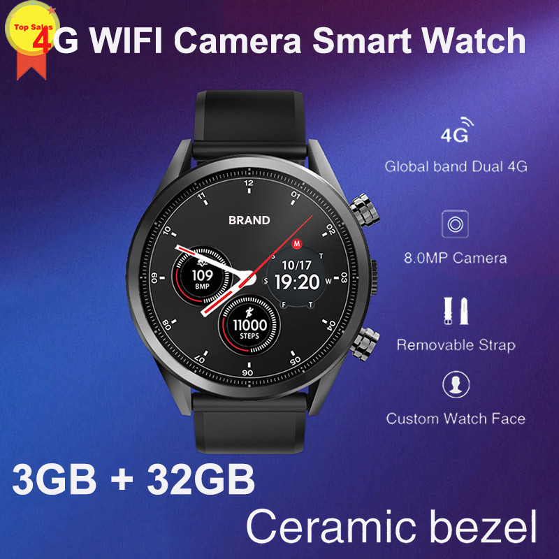 8MP Camera quad core 3G+32G 1 39'' AMoled Smart Watch Men sim Card GPS  google map 4G WIFI business Smartwatch luxury design 2019