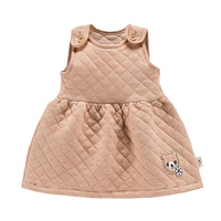 Newborn Baby Girl Dress 2015 Autumn Winter Organic Cotton 1 Year Birthday Dress For Baby Girls