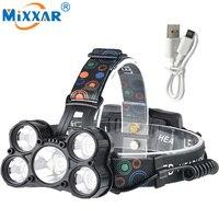 Nzk20 5 CREE XM L T6 LED Head Lamp Light 18000LM Powerful Headlamp Headlight Fishing Hike