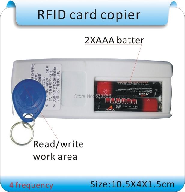 Free Shipping 4 frequency 125KHz /250kHZ/375KHZ/500KHZ EM RFID copier  read-Writer/ Duplicator + 50 pcs Writable tags