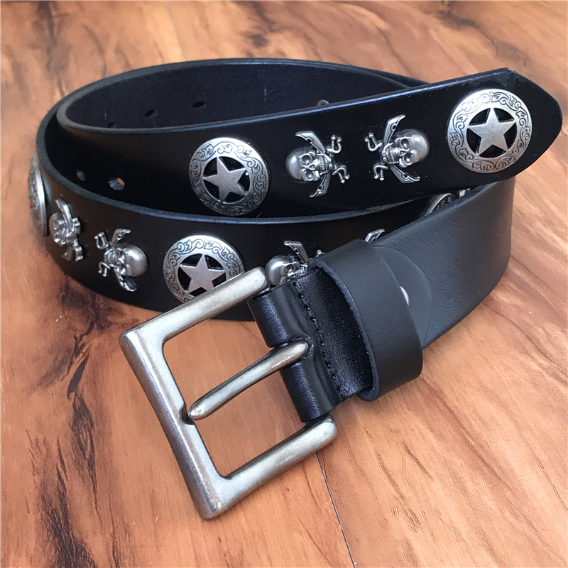 Skull Genuine Leather Punk Men Belt Vintage Rivet Man Belts Ceinture Homme Leather Belt Men Jeans Strap Cinturon Mujer MBT0515
