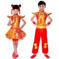 Chinese Folk Dança Custume Tambor Traje das Crianças das Crianças Meninos Meninas Trajes Étnicos Yangko roupas de Dança Roupas de Roupas de Artes Marciais