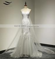 Real Picture Appliques Mermaid Tulle Spaghetti Strap Wedding Dress With Detachable Train Sweetheart Vestido De Noiva