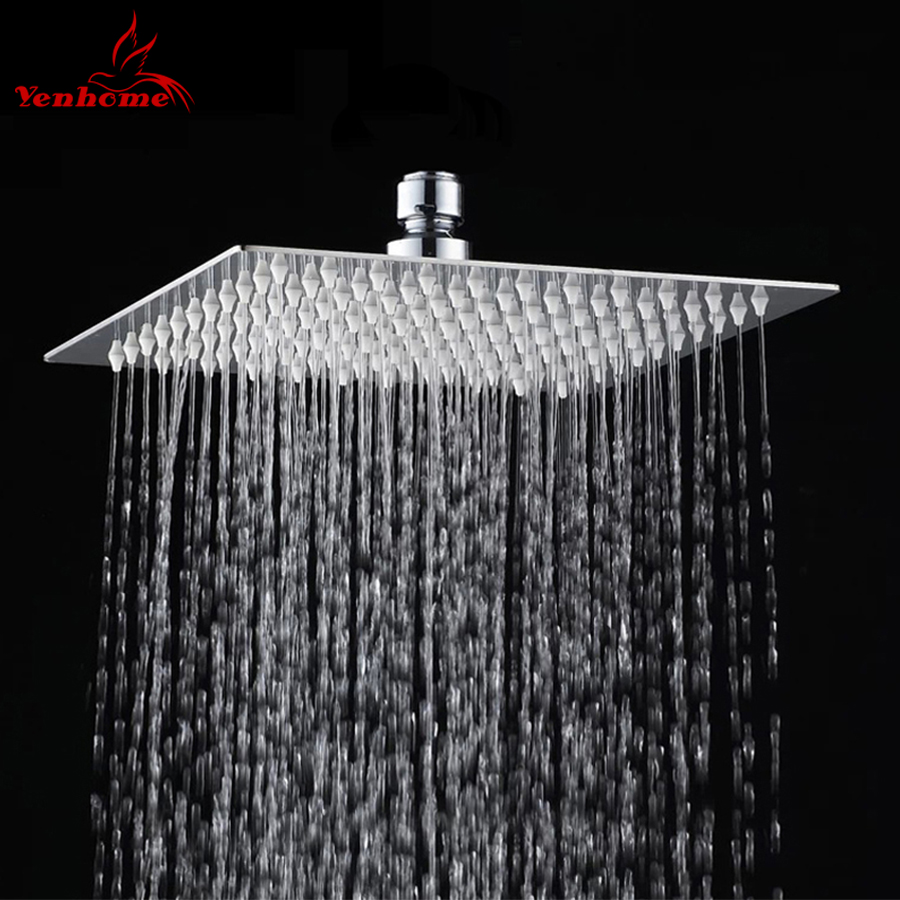 8″ Stainless Steel Ultra-thin High Pressure Shower Head Top Over ...
