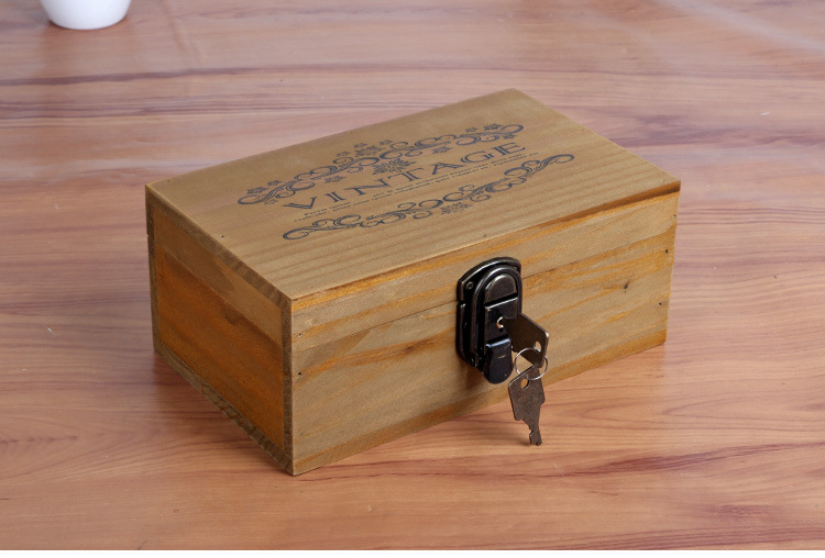 2pcs / παρτίδα 22 * 13 * 9cm Ξύλινο Cofre κλειδί Χρηματοκιβώτιο Χρηματοκιβώτιο Χρηματοκιβώτιο αποθήκευσης με δώρο Κορίτσι Locker