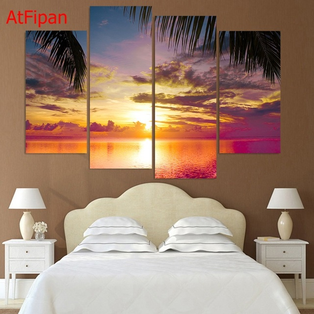 Frameless 4 Piece Unframed Canvas Painting Sunset Sea Palms HD Printed For  Living Room Wall Art