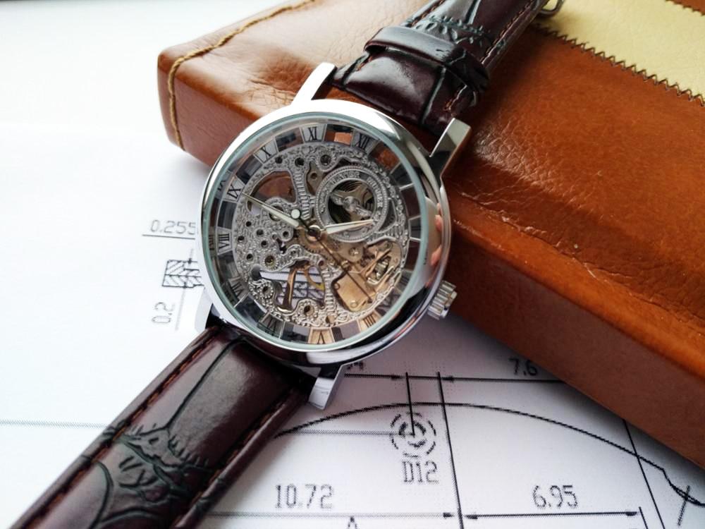 HTB1C1r1cXGWBuNjy0Fbq6z4sXXau Winner Transparent Golden Case Luxury Casual Design Brown Leather Strap Mens Watches Top Brand Luxury Mechanical Skeleton Watch
