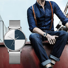 Minimalism Design Business Watch Quartz Creative Simple Men Watches Mesh Strap WristWatch Boyfriend Gift Relogio Masculino