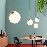 IKVVT Modern Glass Ball Pendant Lights Creative LED Golden Restaurant Hanging Lamp Nordic Deco Lighting for Living room Bedroom