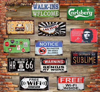 New USA Vintage Metal Tin Signs Route 66 Car Number Plates License Metal Plate Poster Bar Club Garage Home Tin Decor Metal sign