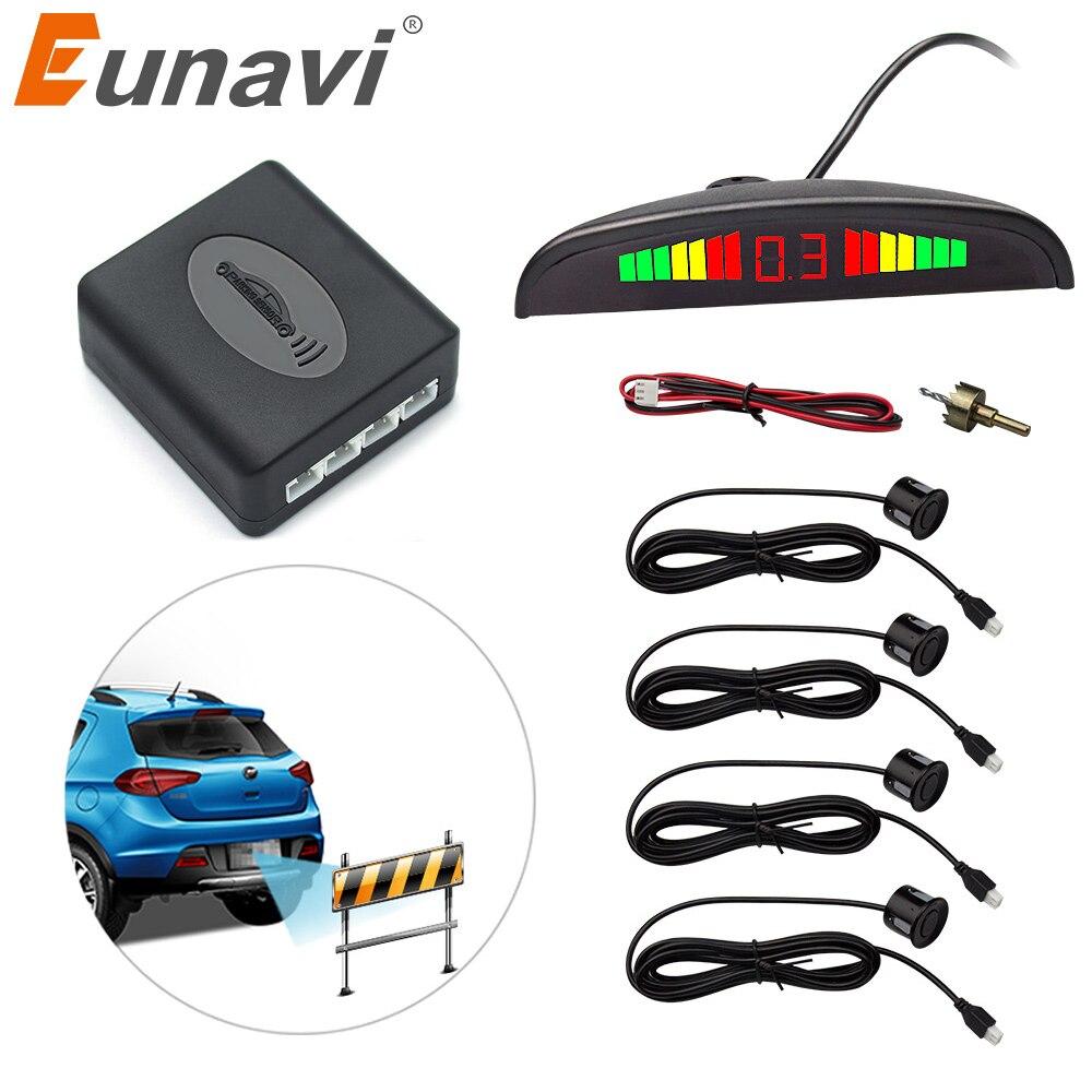Eunavi 1 Unidades de Parktronic Led Sensor de aparcamiento Kit de pantalla 4 sensores para todos los coches inversa asistencia Sistema de Monitor Radar de respaldo