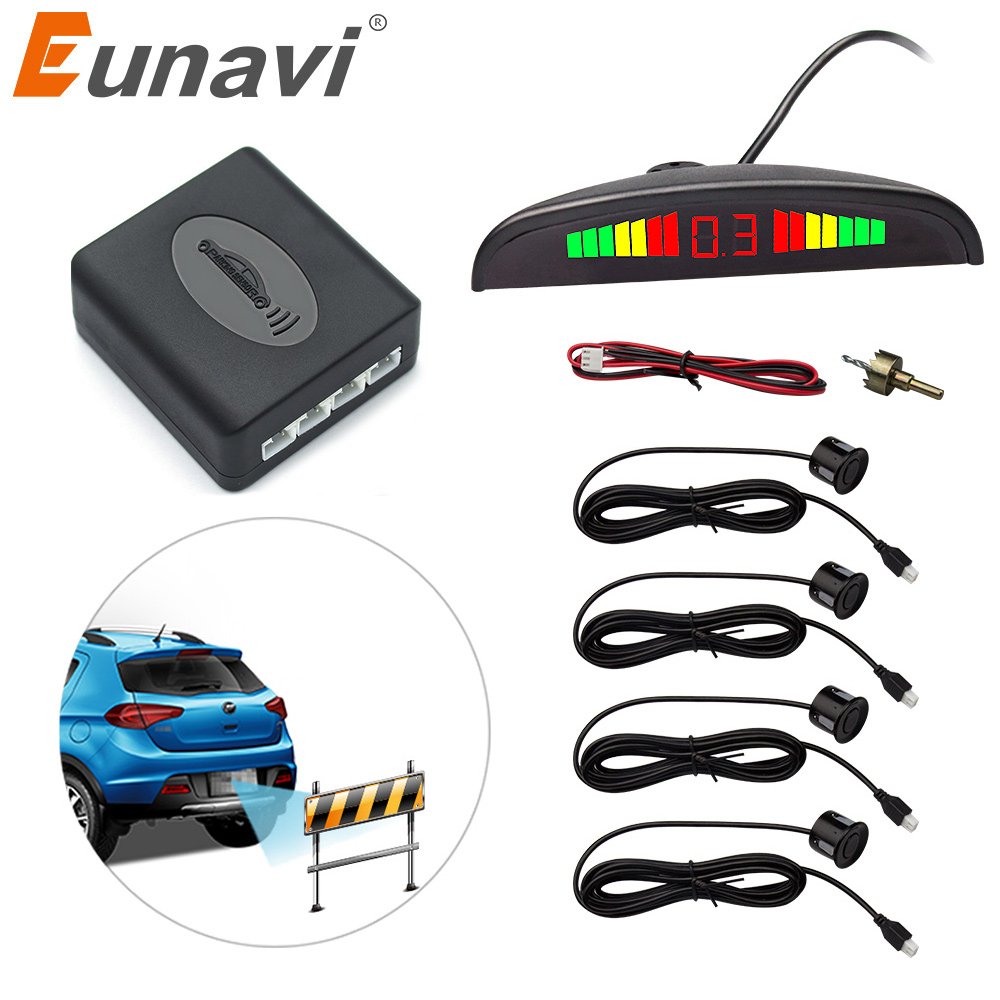 Eunavi 1set Auto Parktronic Led Parking Sensor Kit Display 4 Sensors For All Cars Reverse Assistance Backup Radar Monitor System