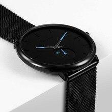 1bc02dc2f637c8 Ultra cienki kreatywny czarny zegarki kwarcowe ze stali nierdzewnej  mężczyźni proste moda biznes japonia zegarki zegar