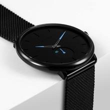 Ультра тонкий творческий Черный Нержавеющая сталь повседневные часы для мужчин простые модные бизнес японские часы мужской Relogios Новый