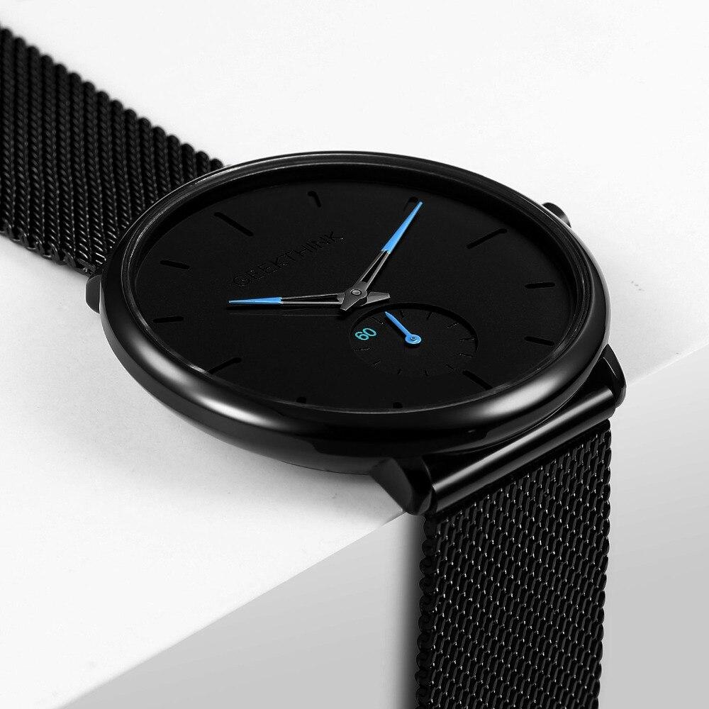 Ultra delgado negro creativo Acero inoxidable relojes de cuarzo de los hombres de moda Simple negocio Japón reloj de pulsera reloj hombre relojes nuevo