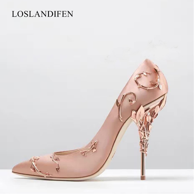 2018 Hot! Luxury design metal leaves decorated with point toe party wedding shoes women stiletto high heels pumps bridal shoes rhinestone decorated stiletto heels