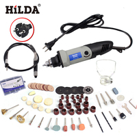 HILDA 400W 220V Mini Electric Drill With Flexible Axle And 94 Pcs Accessories For Dremel Rotary Tools With 6 Position Variable