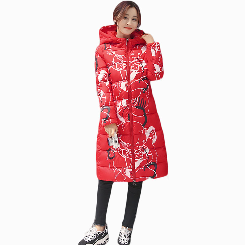 2017 NEW HOT SALE WOMEN WINTER JACKER MID-LENGTH FASHION PRINT HOODED THICKEN WARM FEMALE PARKAS WINDBREAK COTTON WADDED ZL678