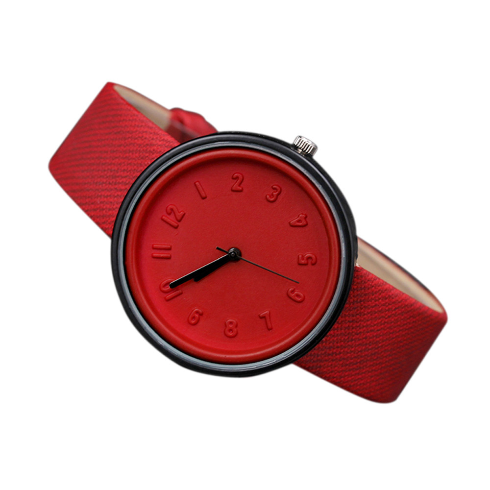 Zerotime #501 2019 New Fashion Unisex Simple Number Watches Quartz Canvas Belt Wrist Watch Luxury Design Red Gifts Free Shipping