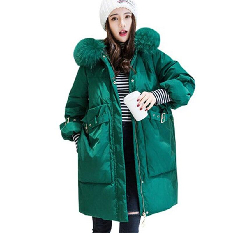 Nouveau grand col en fourrure blanc canard doudoune hiver femmes à capuche Parkas Long 90% canard vers le bas manteau femme neige vêtements d'extérieur chauds YP2163