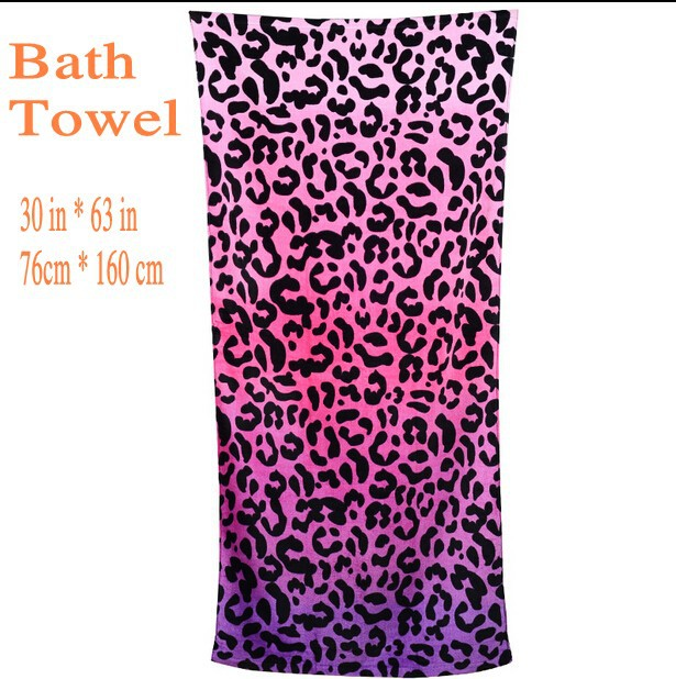 large bath towel cotton beach towel beautician toalha pink leopard print for adults terry towel novelty - Large Beach Towels