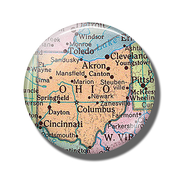 Ohio Map 30 MM Fridge Magnet Akron Cincinnati Columbus Map Glass Dome Magnetic Refrigerator Stickers Note Holder Home Decoration image