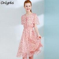 ONLY PLUS Women Floral Dress Elastic waistline Fashion New Design Summer Chiffon Dress Aline Sweet Female Holiday Vestidos