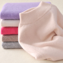 Women s Cashmere Elastic Autumn Winter Half Turtleneck Sweaters and Pullovers Wool Sweater Slim Tight Bottoming