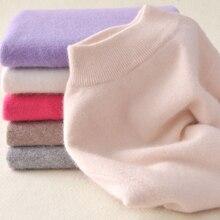 Для женщин кашемир эластичный осень-зима половина Свитеры с высоким воротом и Пуловеры шерстяной свитер тонкий плотный Джемпер трикотажный пуловер