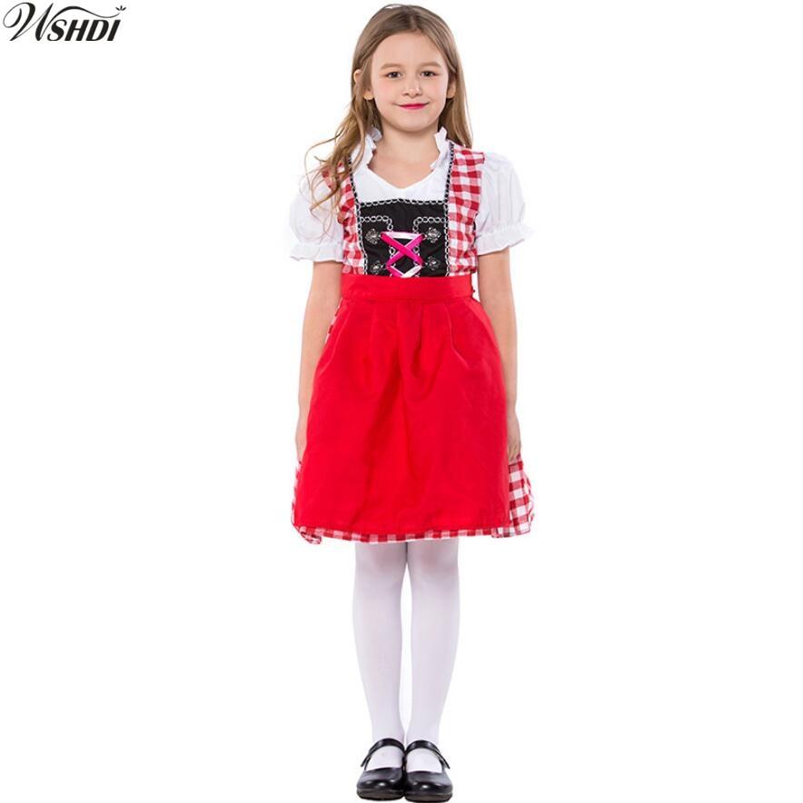 Children Halloween Costumes For Kids Oktoberfest Beer Maid Waiter Costume Octoberfest Bavarian Beer Girl Uniform