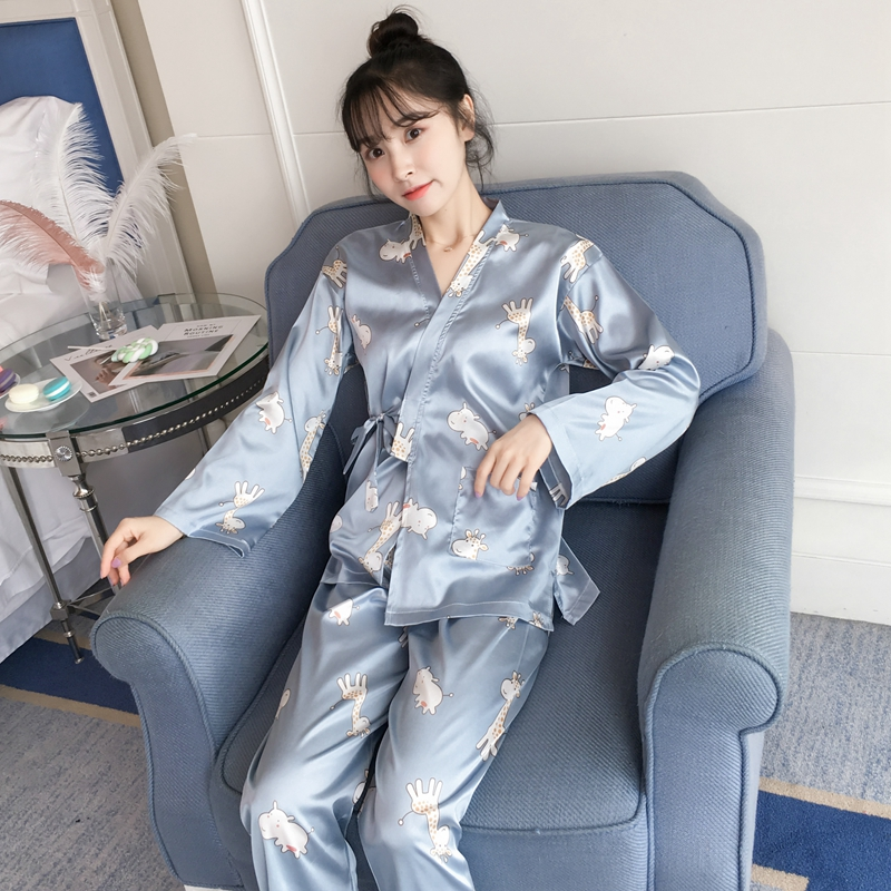 2018 Autumn Stain Silk   Pajama     Sets   Girls Japanese Kimono Pijama for Women Long Sleeve Print Pyjama Lounge Homewear Home Clothing