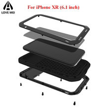 hot deal buy love mei metal case for iphone xr phone cover iphone xr aluminum armor shockproof waterproof funda for iphone xr outdoor case xr