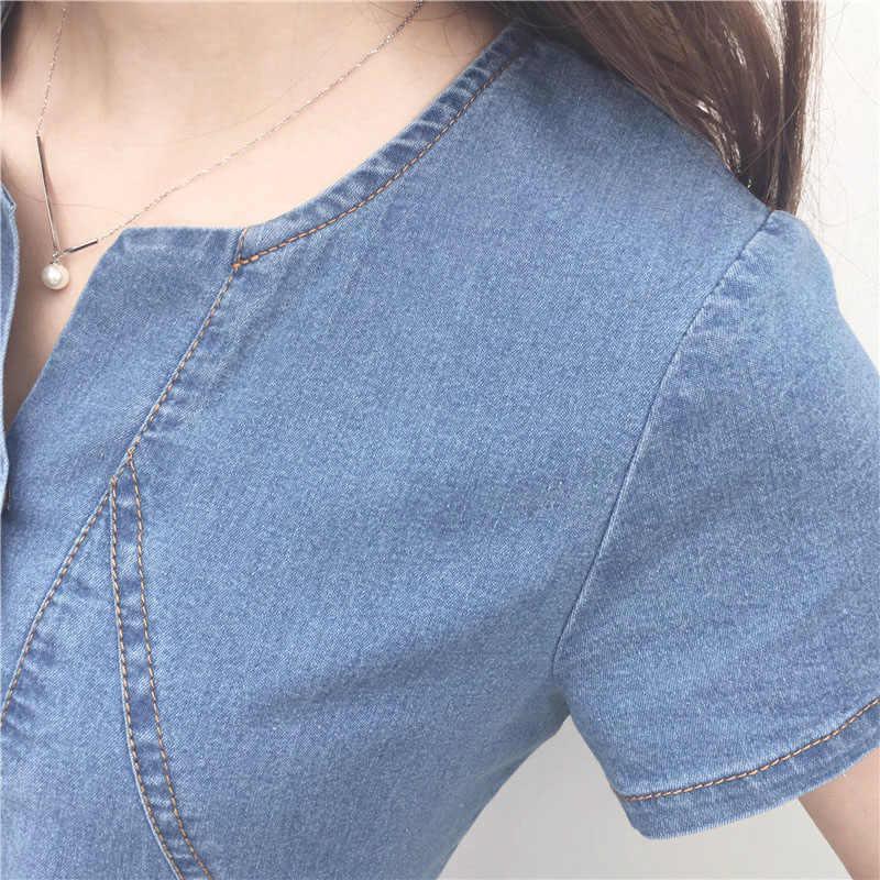 2019 Новое поступление летние женские джинсовые платья с короткими рукавами свободные слово платья Большие размеры v-образный вырез однотонные джинсовые платья OK10