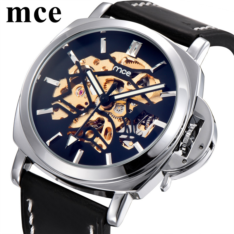 MCE Mechanical Watch Men Waterproof Luminous Skeleton Man Watches Leather Strap Army Military Relogio Automatico Masculino mce top luxury brand men mechanical watch waterproof leather men s skeleton casual wrist watches for men relogio masculino 2016