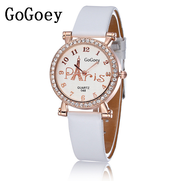 Hot Sales Gogoey Brand Tower Leather Watch Women Ladies Crystal Dress Quartz Wristwatch Relogio Feminino GO109