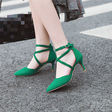 YMECHIC 2019 Pointed Toe Thin High Heels Pumps Ankle Strap Cross Tied Green Black Womens Shoes Stiletto Sandals Summer Plus Size