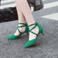 Ymechic 2019 dedo do pé fino bombas de salto alto tornozelo cinta cruz amarrado verde preto das mulheres sapatos stiletto sandálias verão mais tamanho