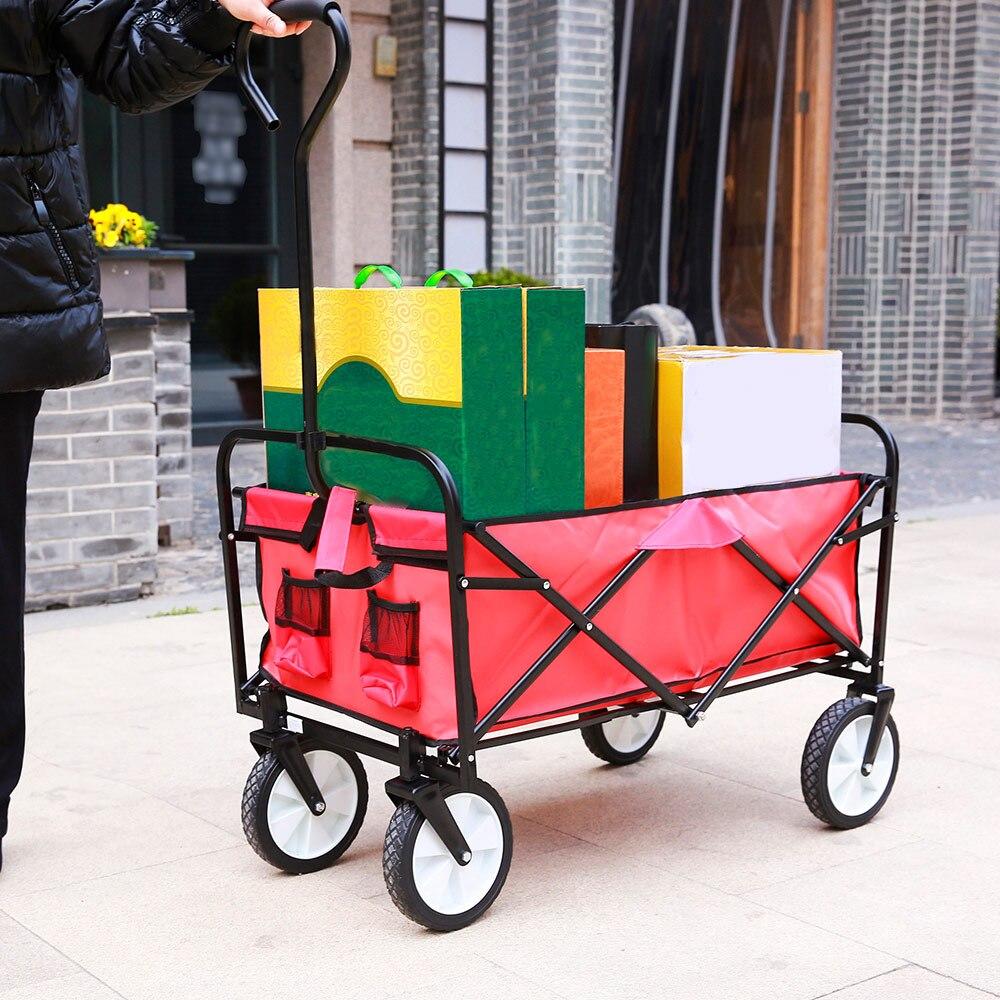 Carriage-Cart Folding Utility Wagon Garden Beach-Sports Outdoor Push With Four-Wheeled