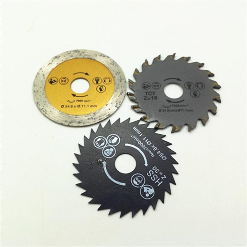 3db / csomag Forró akció! Körfűrészlap 54.8mm HSS TCT Diamond Mini fűrészlapok fához, fémhez, gránithoz