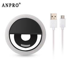 Anpro светодиодный светильник для селфи для мобильного телефона с зажимом, портативный светодиодный кольцевой светильник для селфи, светильник-вспышка для камеры для iphone и смартфонов