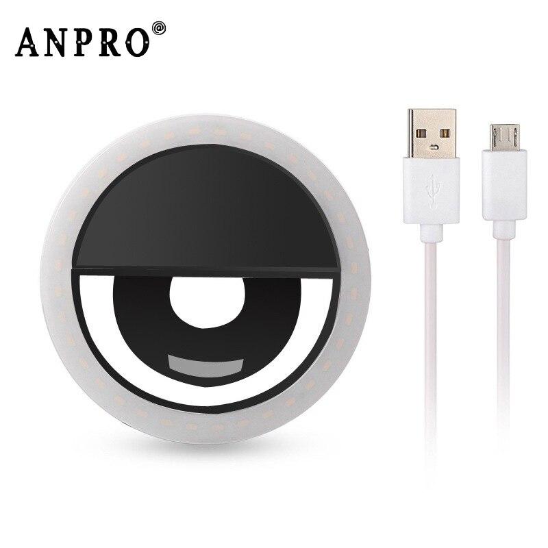 Anpro Светодиодная лампа для селфи с зажимом для мобильного телефона портативная Светодиодная лампа для селфи с кольцом вспышка для фото каме... title=
