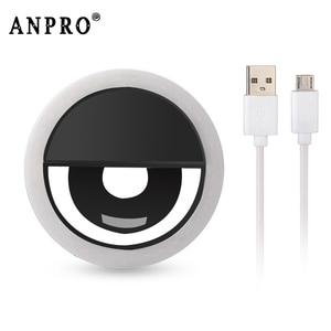 Anpro LED Mobile Phone Selfie Light Clip-On Lamp Portable LED Selfie Ring Light Flash Light Photo Camera For iphone Smartphone