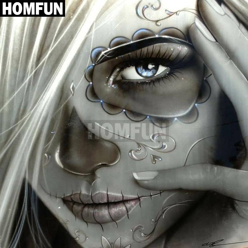 HOMFUN Full Square/Round Drill 5D DIY Diamond Painting Skull woman 3D Embroidery Cross Stitch 5D Home Decor A00080HOMFUN Full Square/Round Drill 5D DIY Diamond Painting Skull woman 3D Embroidery Cross Stitch 5D Home Decor A00080