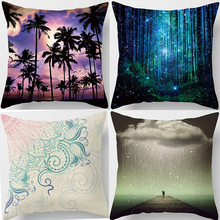 Hot sale beautiful coconut patterns  forest Mandala square Pillow case throw pillow covers size 45*45cm