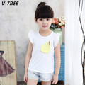 V-TREE Girls Cotton T Shirts 2017 New Fashion Summer Girls Short Sleeve T Shirt Toddler Cute Pear Lace T Shirt Children Cloth