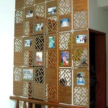 6 шт 19x39 см складной экран для комнаты Декоративные перегородки жалюзи щит для комнат пластиковые подвесные деревянные ретро полые жалюзи